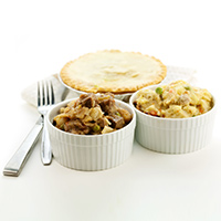 homemade chicken pies and beef pies
