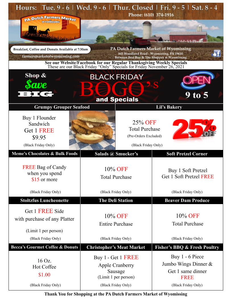 BOGO Specials Coming Soon, Stop back & Check 'Em Out!
